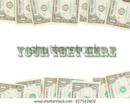 Seamlessly tileable and repeatable 1 dollar bills, US Currency, room for text - stock photo