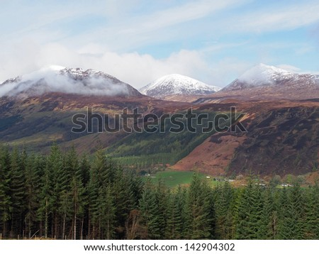 Sean Mheall and Meall nan Dearcag seen from south Laggan forest - stock photo