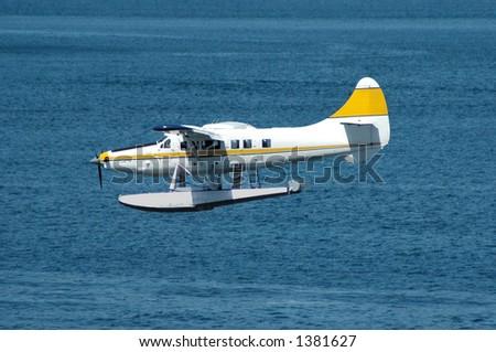 Seaplane landing - stock photo