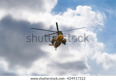 Search and Rescue helicopter in Northumberland, North East England, UK. - stock photo