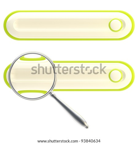 Search bar under the magnifier glossy green icon isolated on white - stock photo