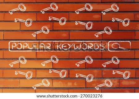 search bar with funny keys, researching about the best keywords trends - stock photo