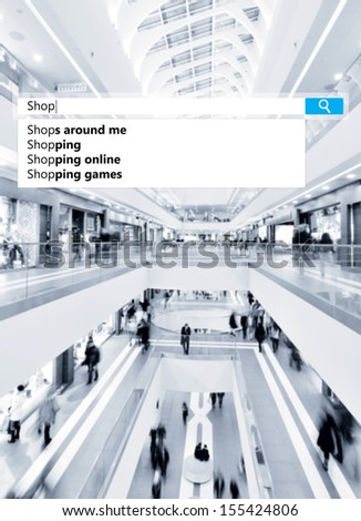 search box on blurred photo of a modern mall - stock photo