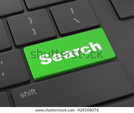 search button on the keyboard close-up, 3d rendering