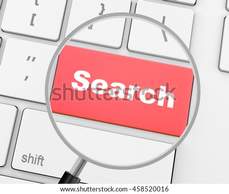search button on the keyboard close-up, 3d rendering - stock photo
