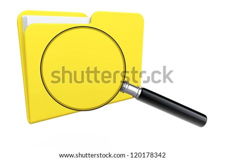 Search Concept. Folder icon under the magnifier on a white background