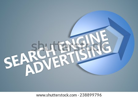 Search Engine Advertising - 3d text render illustration concept with a arrow in a circle on blue-grey background