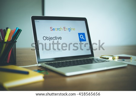 Search Engine Concept: Searching OBJECTIVE on Internet - stock photo