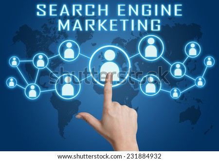 Search Engine Marketing concept with hand pressing social icons on blue world map background. - stock photo
