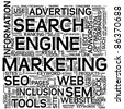 Search engine marketing SEM concept in word tag cloud on white - stock photo