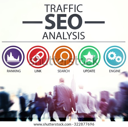 Search Engine Optimisation Analysis Information Data Concept - stock photo