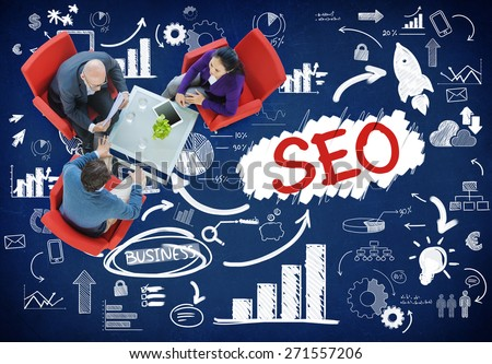 Search Engine Optimization Business Strategy Marketing Concept - stock photo