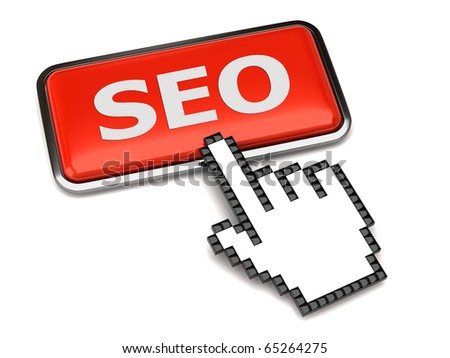Search Engine Optimization button and hand cursor - stock photo