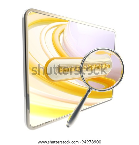 Search engine optimization glossy orange icon as a pad screen and search bar isolated - stock photo