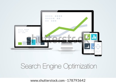Search engine optimization marketing analysis illustration. Vector file also available! - stock photo