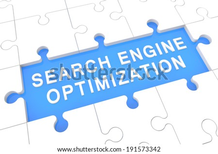 Search Engine Optimization - puzzle 3d render illustration with word on blue background - stock photo