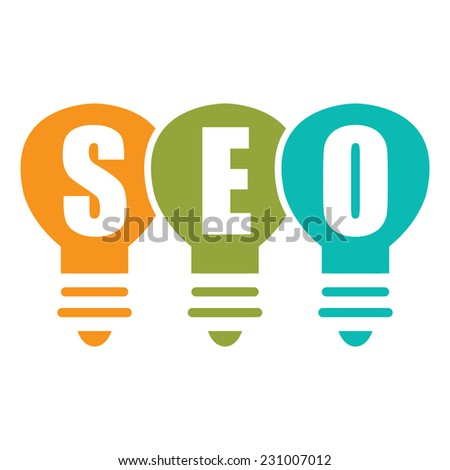 Search Engine Optimization, SEO Concept With Light Bulb Isolated on White Background - stock photo
