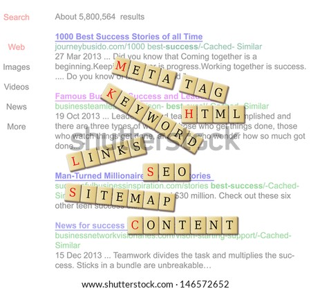 search engine result of business success in  the background of crossword seo related words. - stock photo