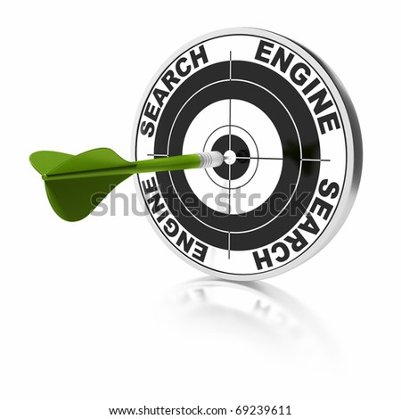 search engine target and green dart over a white background - stock photo