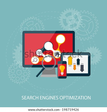 Search Engines Optimization Concept  Illustration. . - stock photo