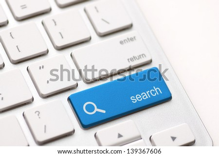 search enter button key on white keyboard - stock photo