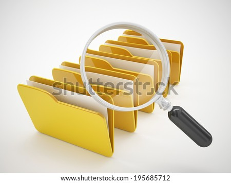 search file folders or computer bug icon - stock photo