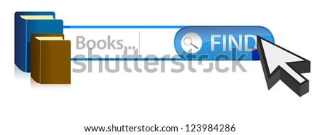 Search for books illustration graphic design over white - stock photo