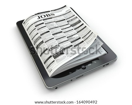 Search jobs on newspaper in tablet. Conceptual image. 3d - stock photo