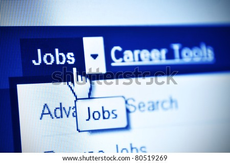 search jobs using internet- detail of web page - stock photo