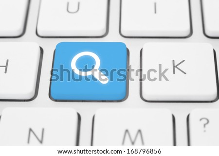 Search key on a white keyboard - stock photo