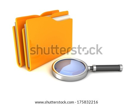 Search Magnifying Glass and yellow office file document folders - stock photo