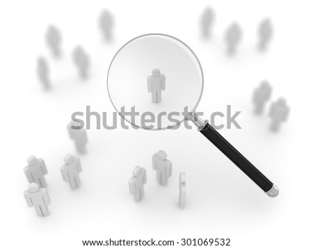Search man , This is a computer generated and 3d rendered picture. - stock photo