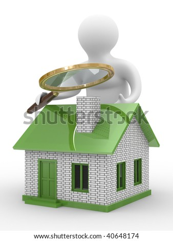 Search new house. Isolated 3D image on white - stock photo