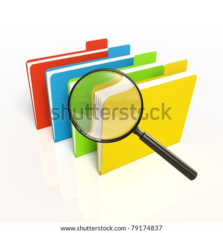 Search of data. Isolated 3D - stock photo