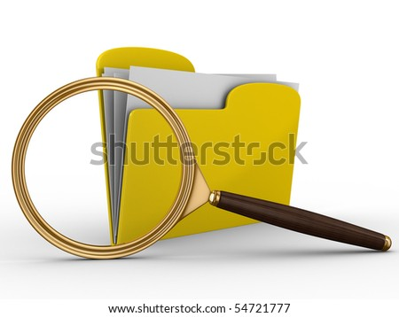 Search of data. Isolated 3D image on white - stock photo