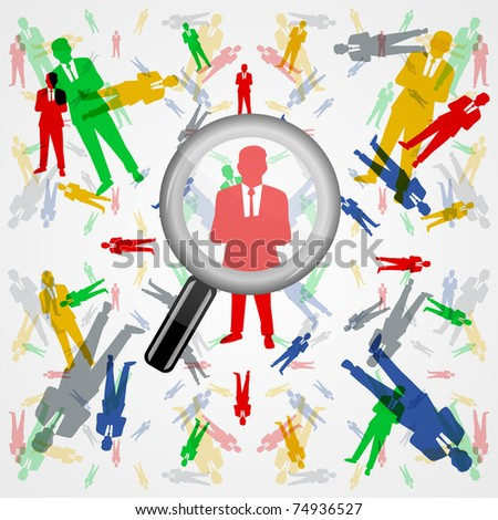 Search people through colorful male silhouettes - stock photo