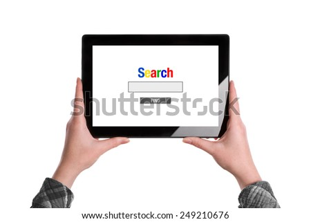 Search The Internet on Tablet Concept, Hands Holding Digital Tablet Computer isolated on White Background