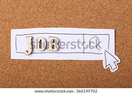 Search The Job on the Internet concept on the wooden cork background. - stock photo