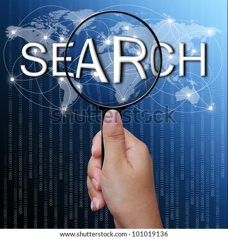 search, word in Magnifying glass,network background