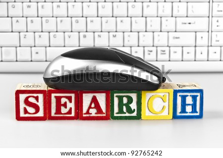 Search word with mouse and keyboard - stock photo