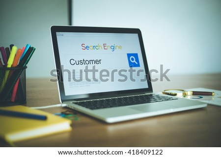 "SEARCHING ""CUSTOMER"" WORD ON INTERNET - stock photo"