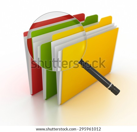 Searching file , This is a computer generated and 3d rendered picture. - stock photo