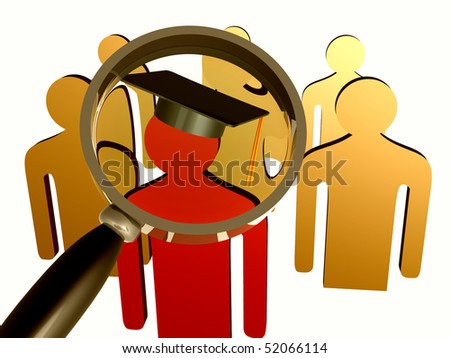 Searching for educated leader icon illustration - stock photo