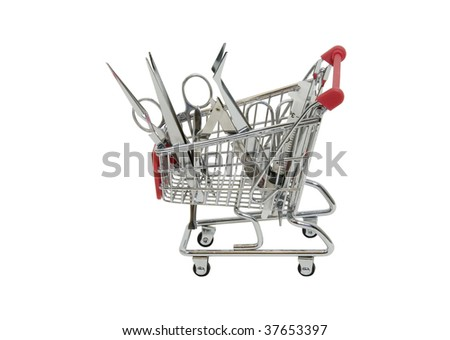 Searching for medical tools shown by precise instruments in a shopping cart - path included - stock photo