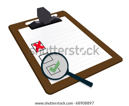searching for mistakes in survey - stock photo