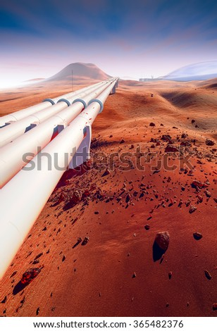 Searching for water on Mars, water distribution. Large pipeline, dunes, craters and rocks. Landscape of the Red Planet