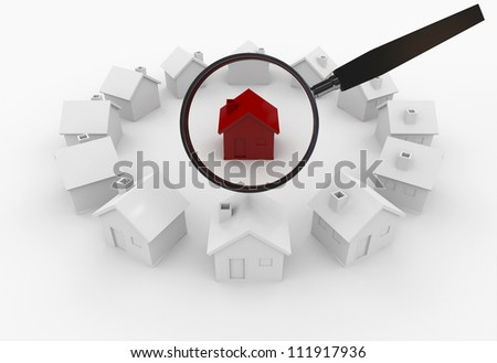 Searching house - Isolated on White Background - stock photo