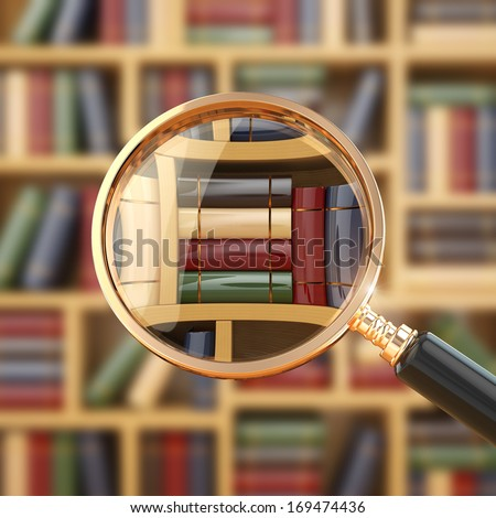 Searching in library. Loupe and books. 3d - stock photo