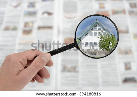 Searching list for house lodging and property - stock photo