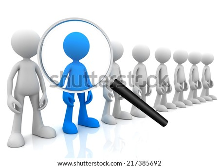 searching person with magnifying glass - stock photo